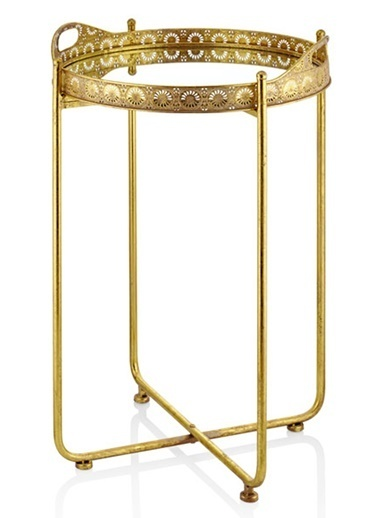 Cemile Whıte Gold Ayaklı Büyük Sehpa 50X50X85 Cm Altın